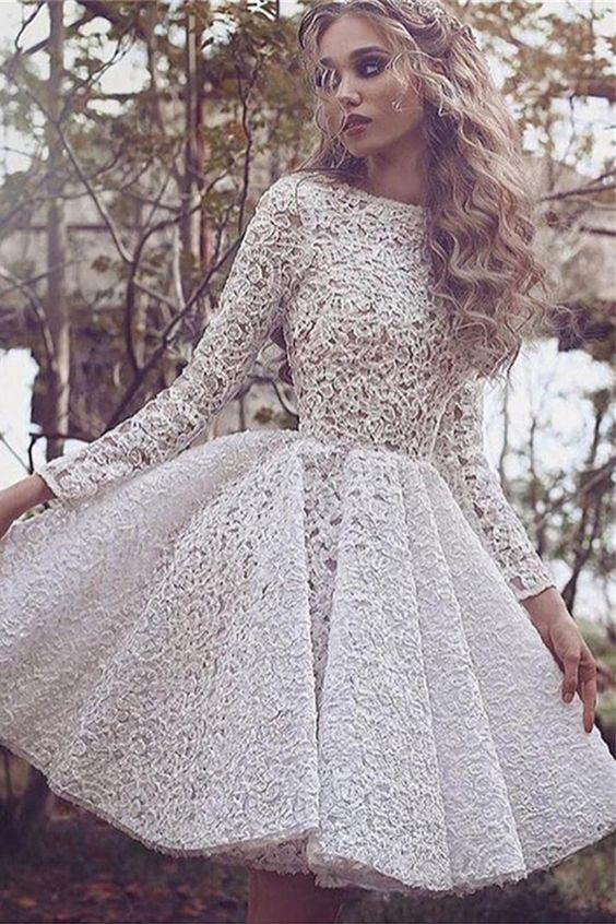 A-line Bateau Knee-length Ivory Long Sleeves Lace Prom/Homecoming ...