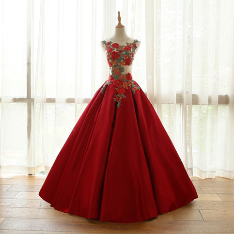 new arrival red floral prom dresses,long formal dresses