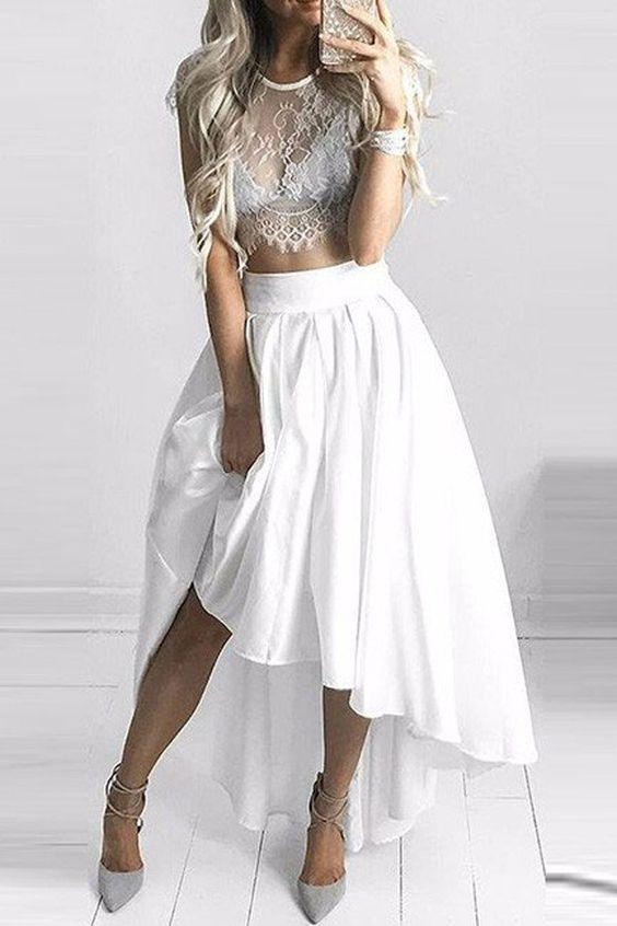 Two Pieces Lace White Short Prom Dress,Fashion Prom Gowns,MB 322 ...
