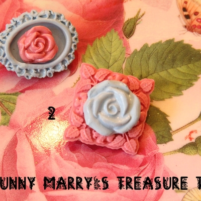 Cameo rose brooches - pastel