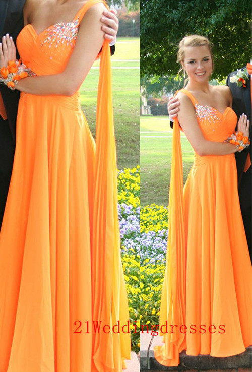 S139 Elegant Long Prom Dresses,One Shoulder Prom Dresses,Charming ...