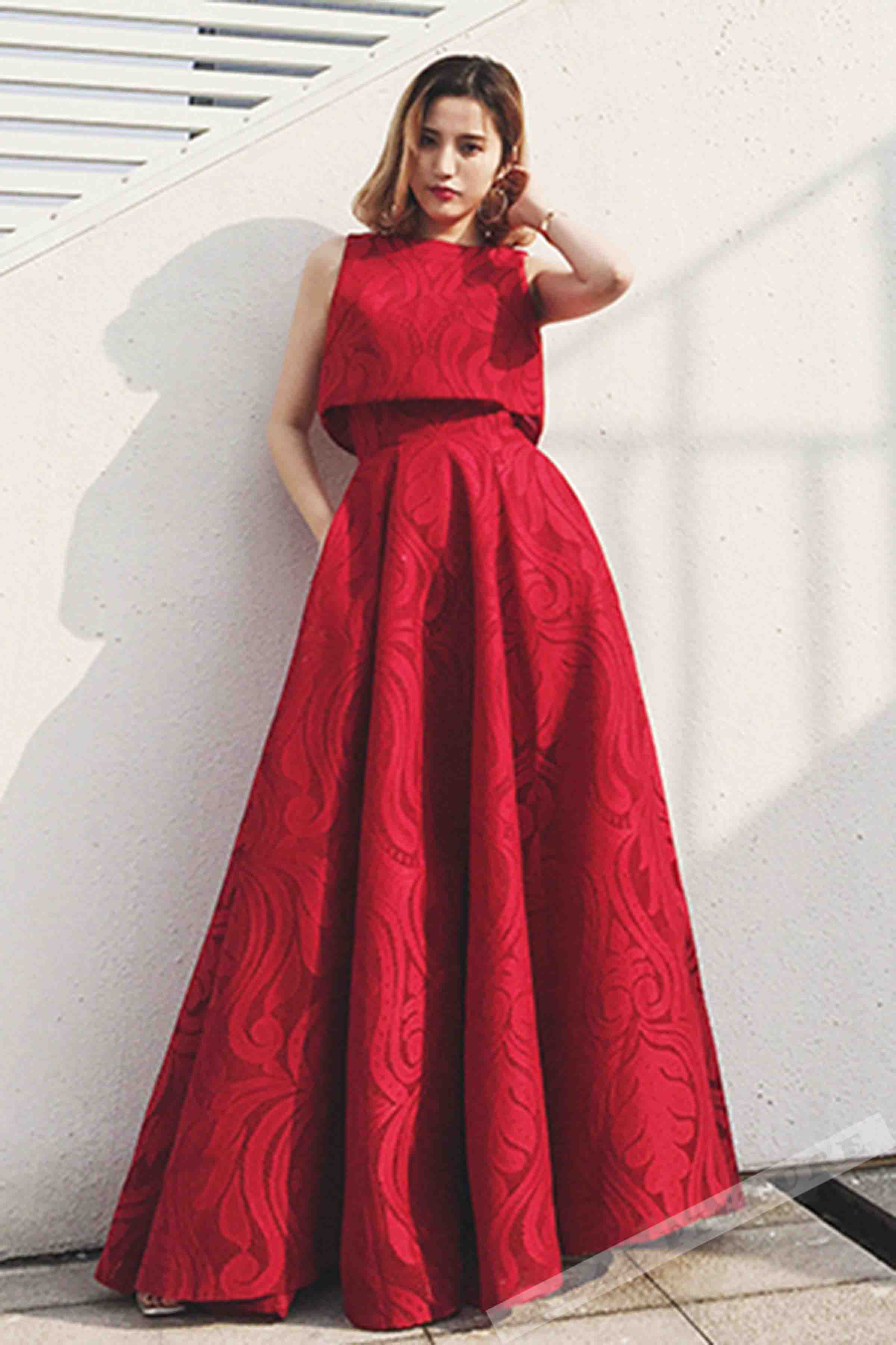 Simple red tulle round neck A-line long prom dress,long dress ...