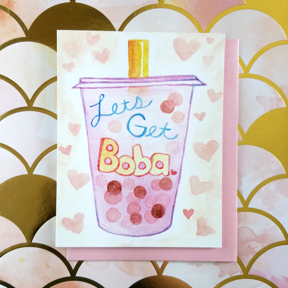 Lets Get Boba Greeting Card Artistique Loup Online Store