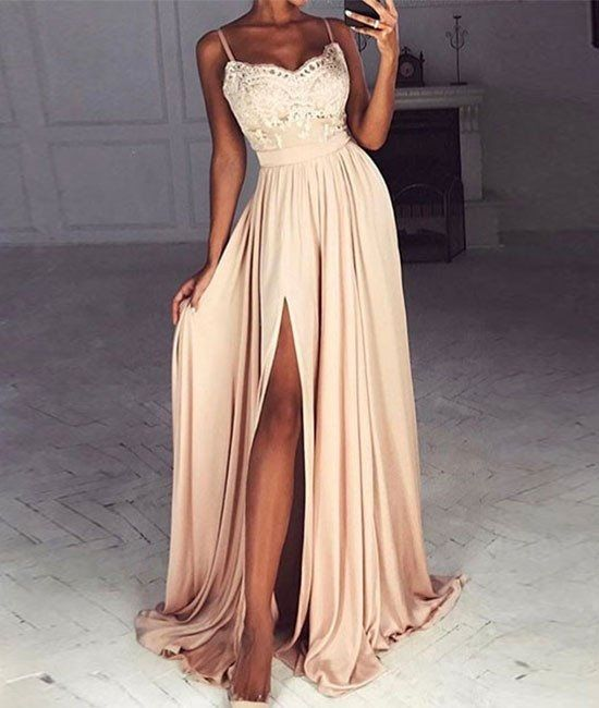 Spaghetti Prom Dresses,Leg Slit Prom Dress,Sweetheart Prom Dresses ...