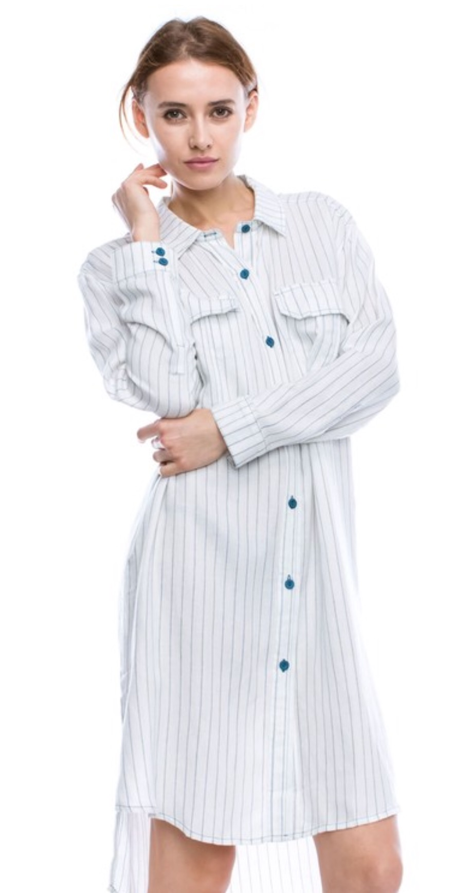 8c744c58ae3d81 ... Single Button Source · Long Sleeve Striped Shirt Dress W High Low Hem  Five Girls Fashion