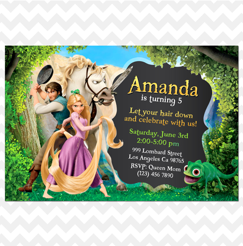 ithinkparty Tangled Invitation Rapunzel Invitation Tangled