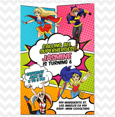 Dc Superhero Girls Invitation Super Hero Girls Invites On