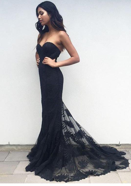 Black Lace Prom Dress, Prom Dresses,Graduation Party Dresses, Prom ...