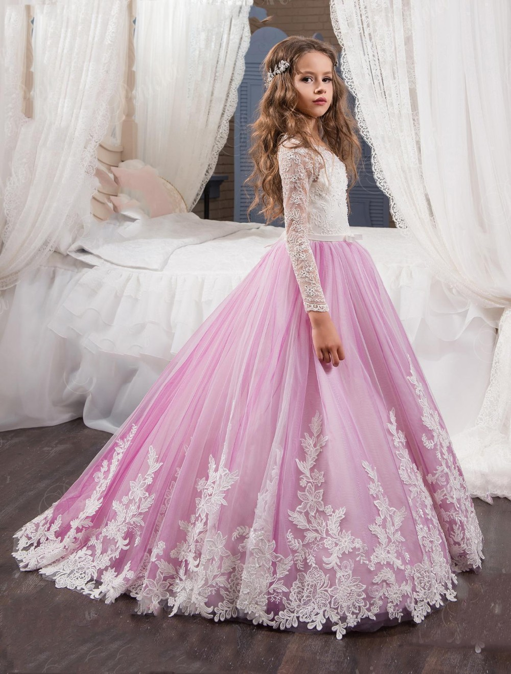 Flower Girl Dress, Ivory Purple Flower Girl Dress, Girls First ...