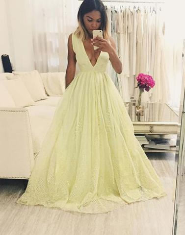 2017 prom dresses,Yellow prom dresses,v neck prom dresses,lace ...
