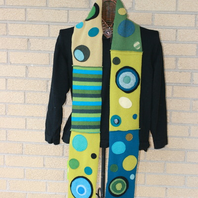 Retro recycled felted wool scarf