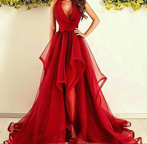 Amazing red long prom dress,red evening dresses