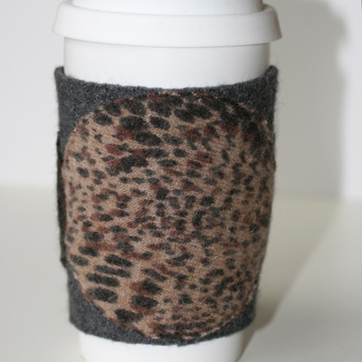Animal print recycled wool coffee cup cardigan