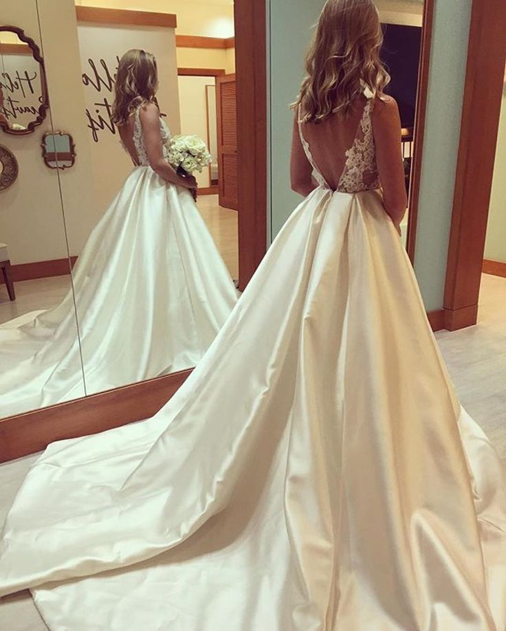 F160 Gorgeous A-line Scoop Long Wedding Dress with Train, Backless ...