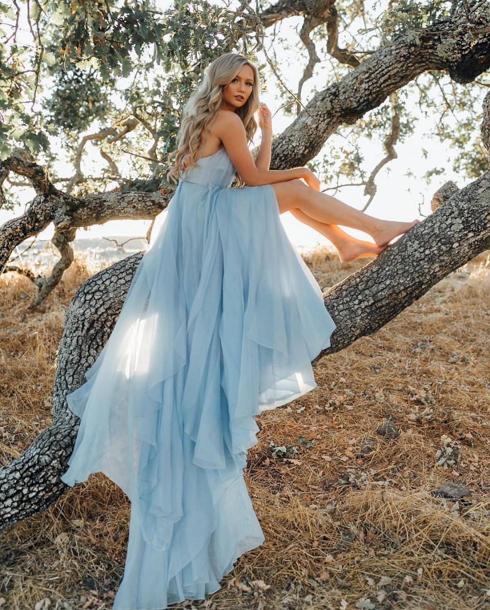 Pretty v neck chiffon blue long prom dress, blue evening dress ...