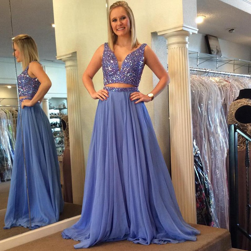 F212 Luxurious Two Piece Beads Long Light Blue Prom Dress,V Neck ...