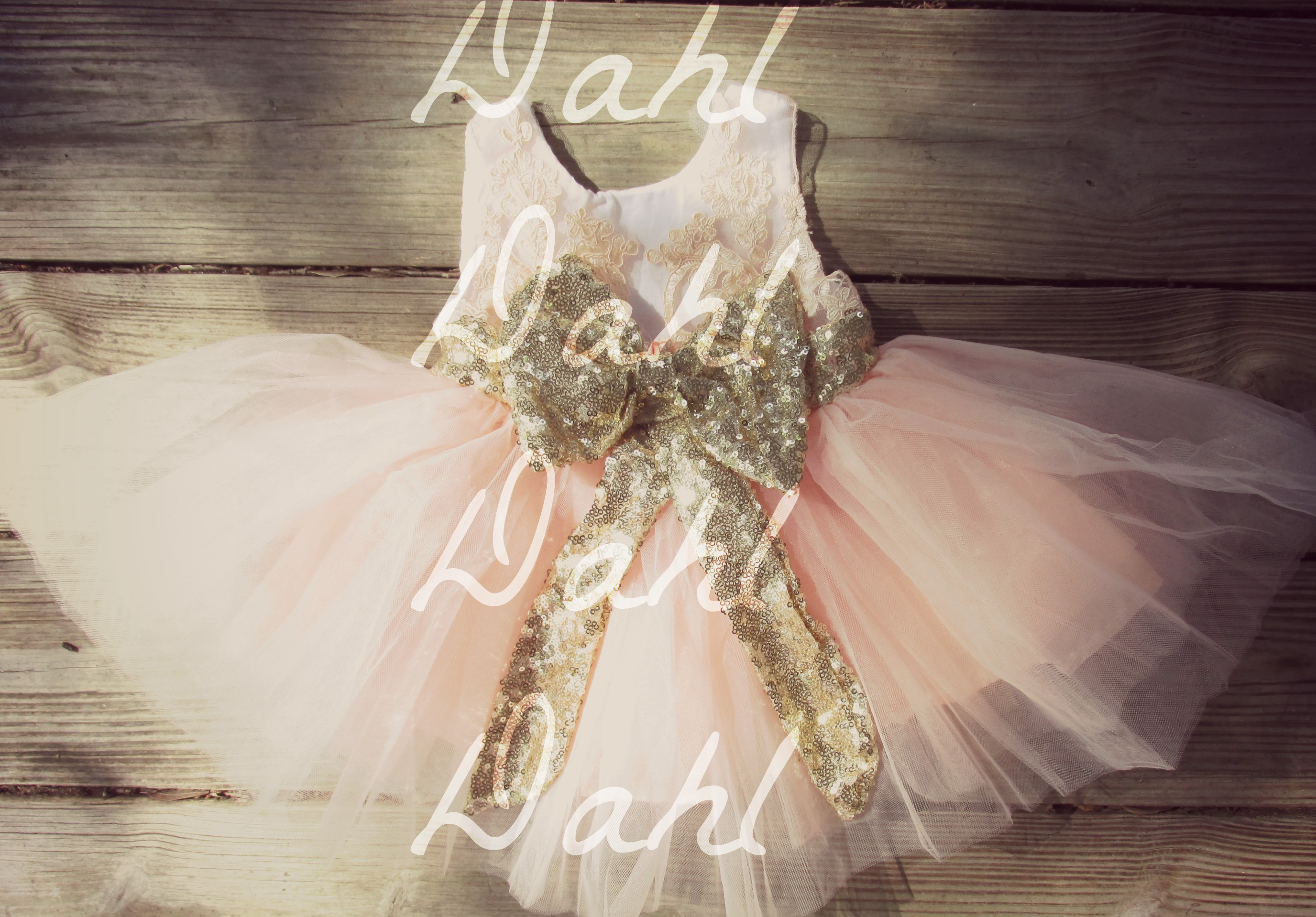 Blush gold sequined bow tutu dress girls big sequin bow dress pink