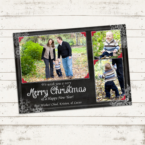 christmas photo card 5x7 or 4x6 printable download merry christmas blackboard photo card. Black Bedroom Furniture Sets. Home Design Ideas