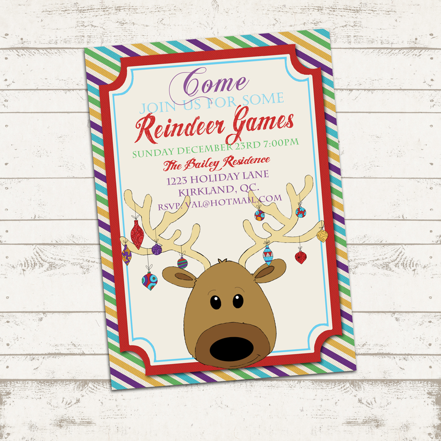 valerie pullam designs custom christmas party invitation x custom christmas party invitation 7x5 printable reindeer games holiday birthday party