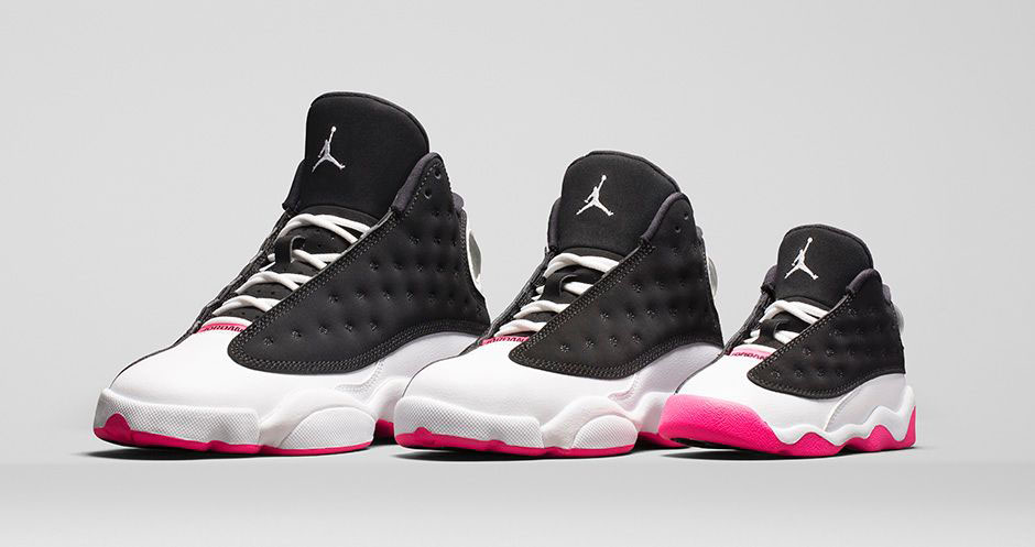 air jordan 13 retro black/hyper pink-white wedding