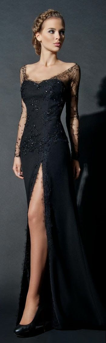 F393 Lace Long Sleeve Black Long Prom Gowns, Side Slit Evening ...
