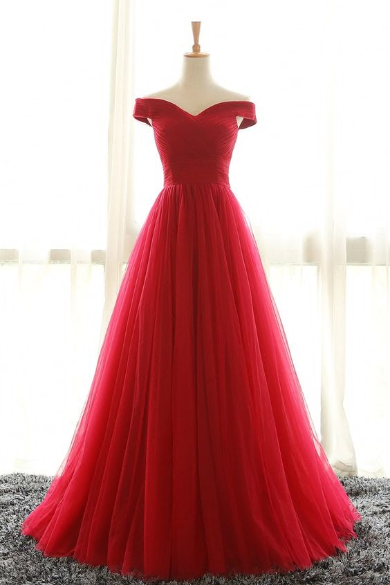 F395 Off the Shoulder Evening Gowns, Real Photos Prom Gowns, Red ...
