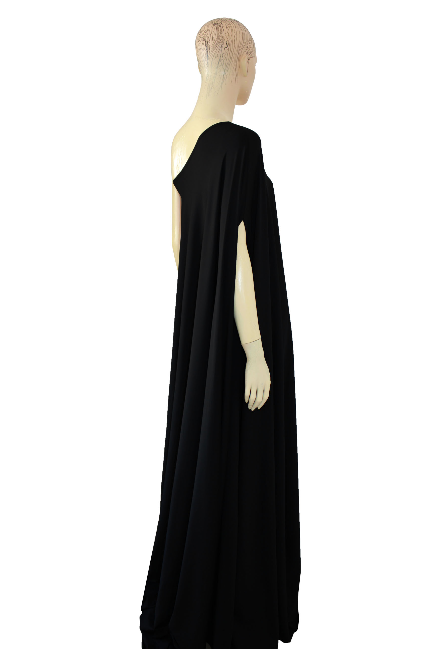 Plus size dress black long formal gown one shoulder maxi dress · EK ...