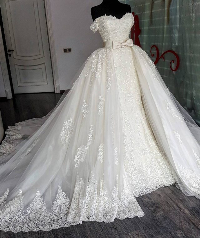 Off the Shoulder Wedding Dresses, Lace Wedding Dress with Detachable ...