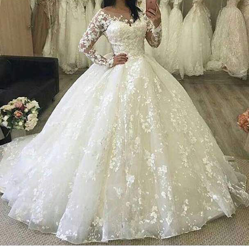 Puffy Wedding Dresses, Long Sleeve Bridal Dresses, Ball Gown Flowers ...