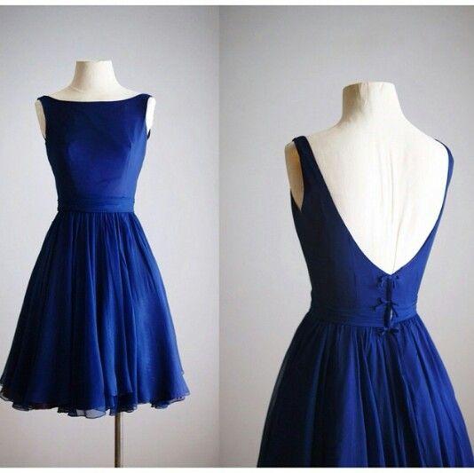 U0030, open back homecoming dress,Chiffon, royal blue, short prom ...