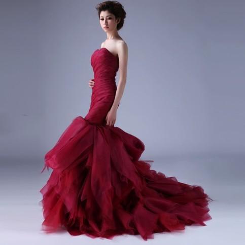 Sexy mermaid red wedding dress sanct sophia online for Big red wedding dresses