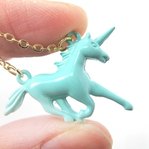 Mythical Creature Unicorn Shaped Pendant Necklace in Mint Blue