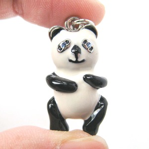 Limited Edition Handmade: Panda Teddy Animal Enamel Pendant Necklace
