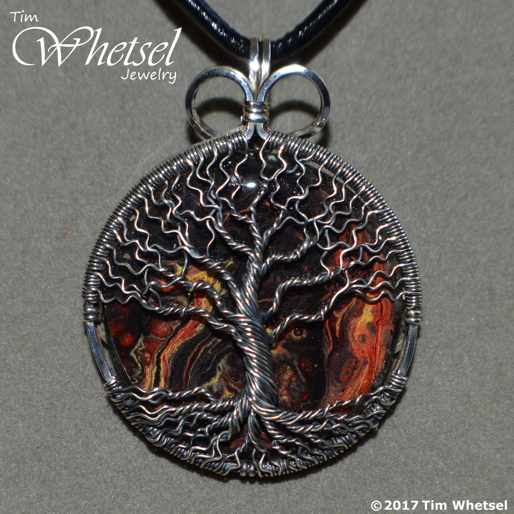 Red, Yellow, Black Fluid Painted - Sterling Silver Tree of Life ...