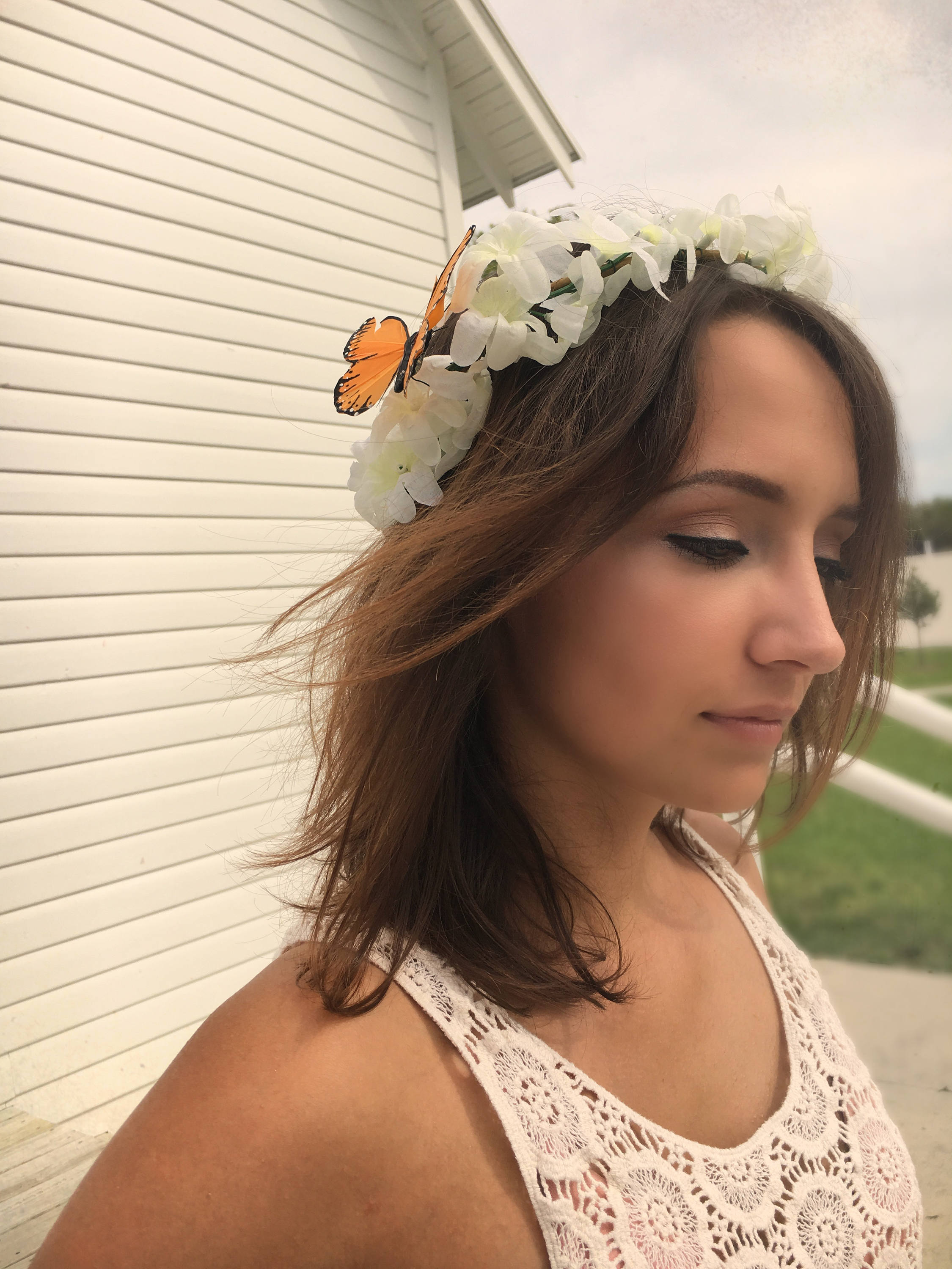 White floral wedding crown boho headband festival hair decoration white floral wedding crown boho headband festival hair decoration floral crown butterfly izmirmasajfo