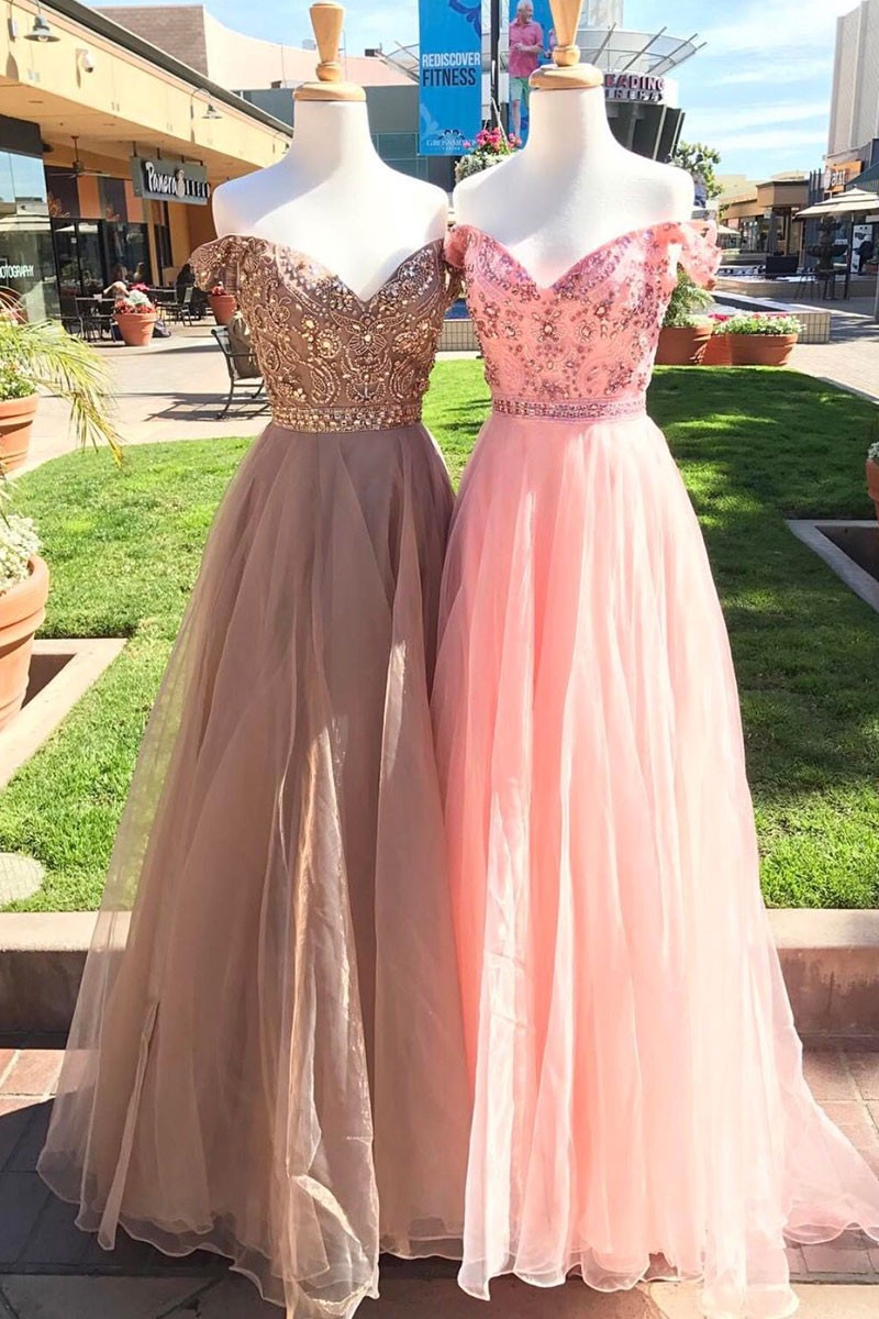 Cute off shoulder sequins long tulle prom dress, evening dress ...