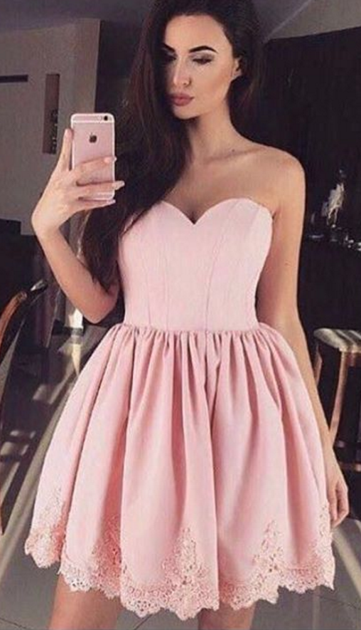 Cute Prom Dress,Mini Pink Prom Gown,Short Party Dress ...