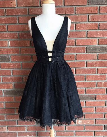 Cute black lace v neck short prom dresses homecoming dress,BD170607 ...