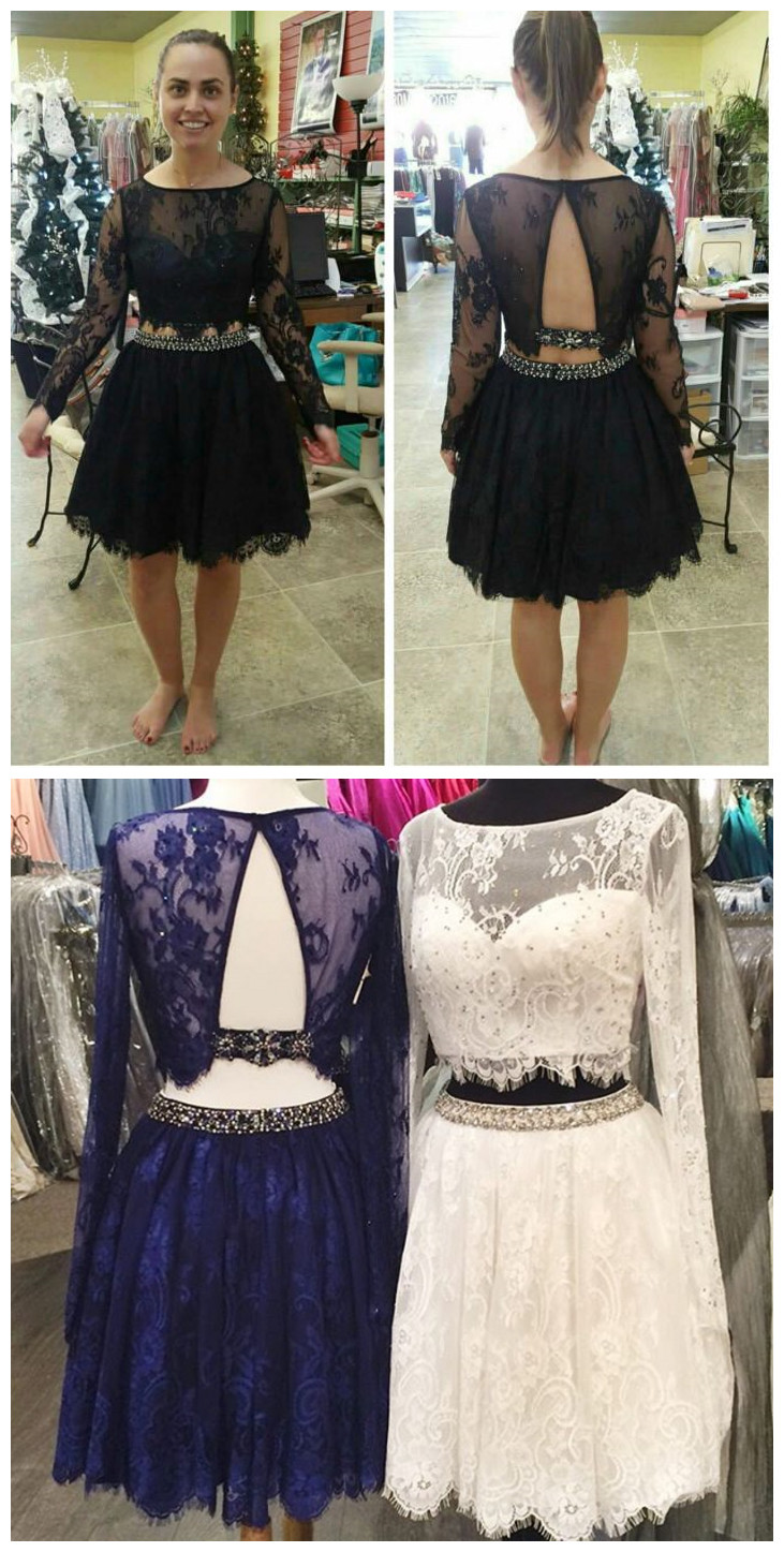 2 Piece Homecoming Dresses,Black Beading Homecoming Gowns,Short Prom ...