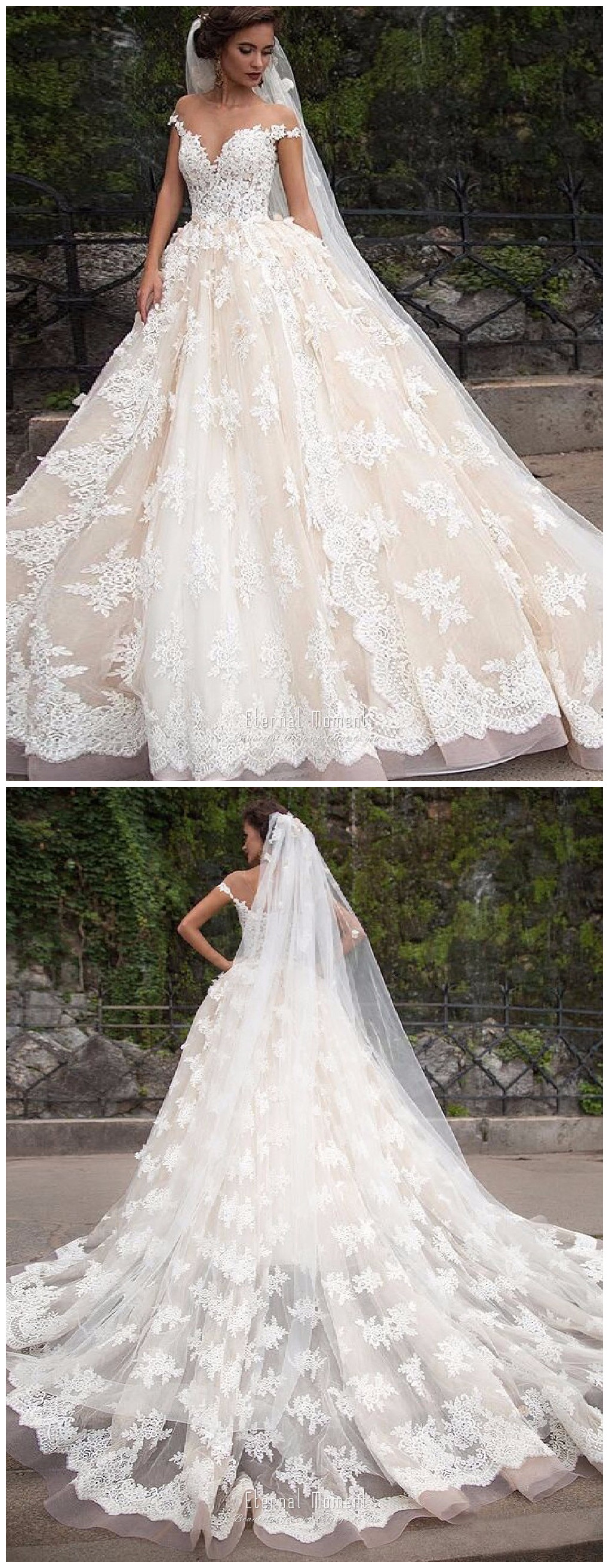 Luxury Lace Ball Gown Wedding Dress Off Shoulder Princess Arabic ...