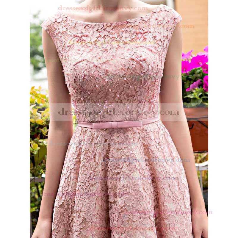 Modest Pink Prom Dresses, A-line Short Homecoming Dresses, Scoop ...