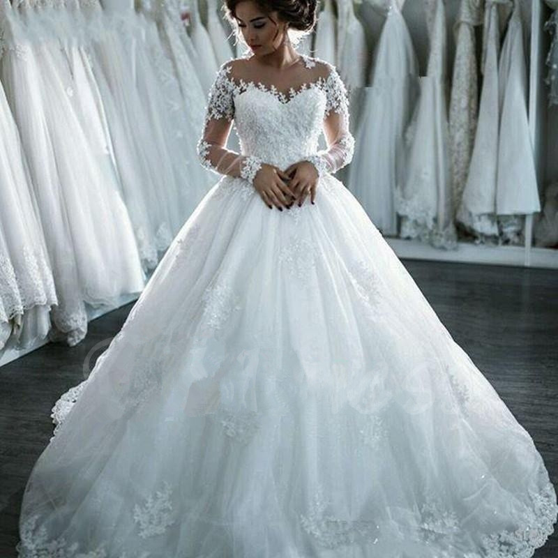 Long Sleeves Appliques Gauze Scoop Neck Ball Gown Wedding ...