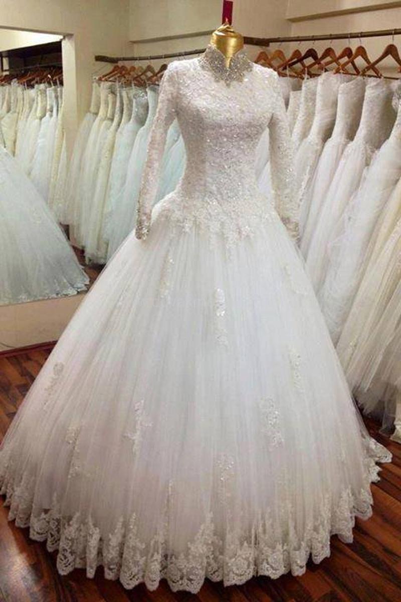 XP358 High Collar Prom Dress,Lace Prom Dress,Long Sleeve Prom Dress ...