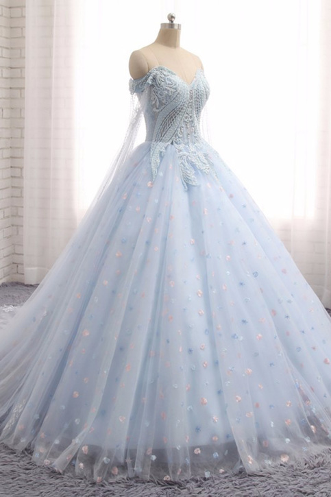 Sweetheart Baby Blue Tulle Long Lace Appliques Wedding
