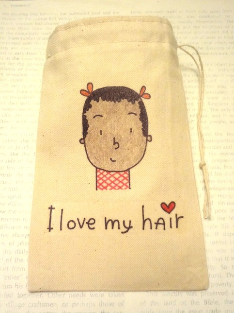 "All-Purpose Drawstring Bag 4"" x 6""- I Love My Hair"