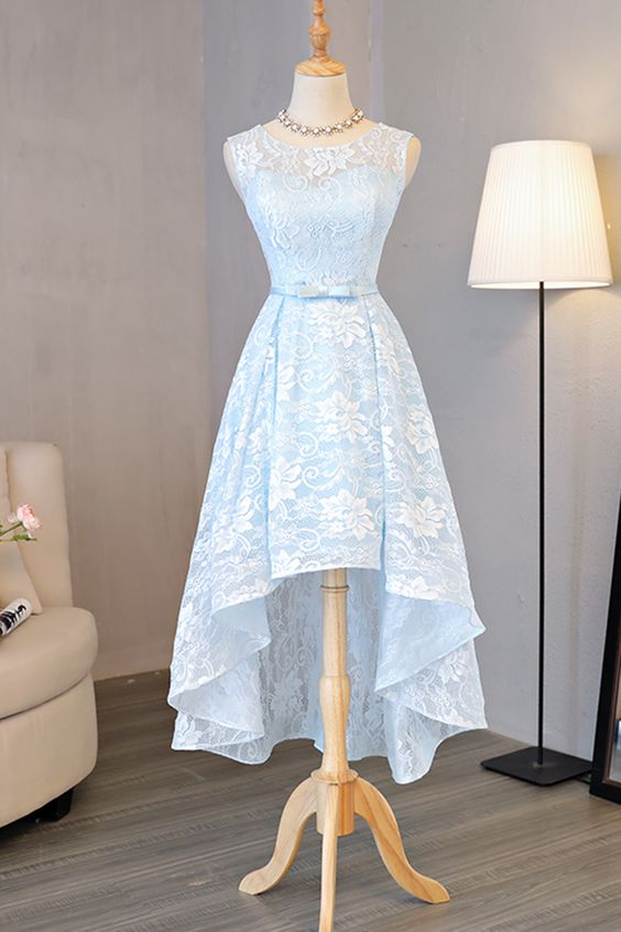 Light blue lace round neck high low halter prom dress, bow ...