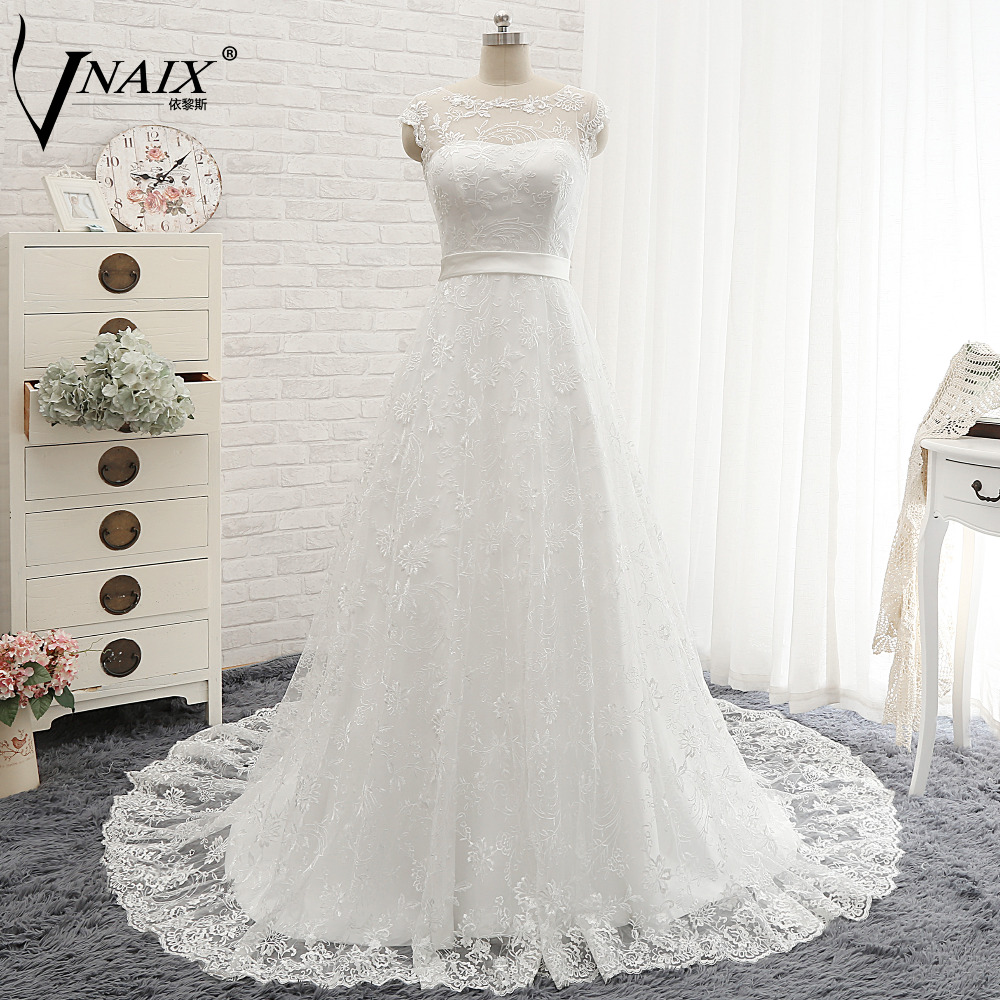 F468 Real Photo Lace Wedding Dresses Sheer Top,White Lace Wedding ...