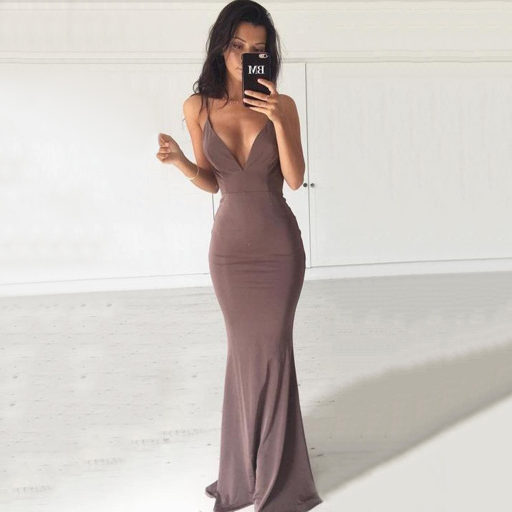 Hot Trumpetmermaid Backless Prom Dresses V Neck Jersey Formal