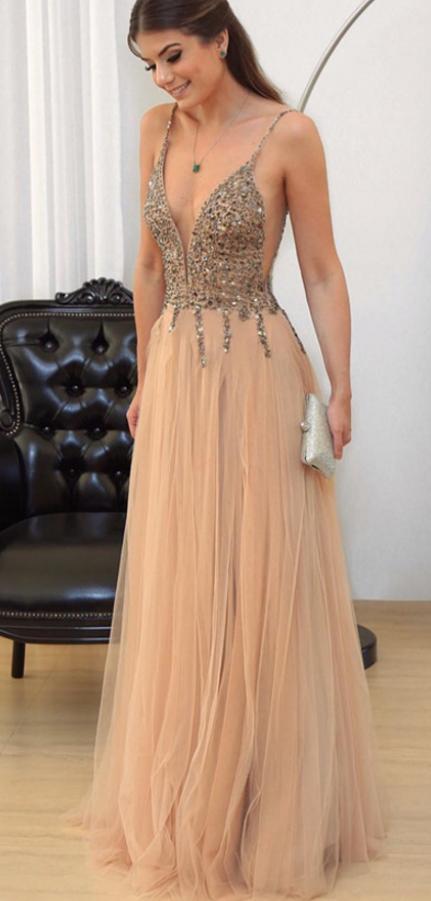 Cheap Prom Dresses Champagne Prom Dress V Neck Evening