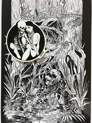 Swamp boy print and skeleton and girl sticker combo